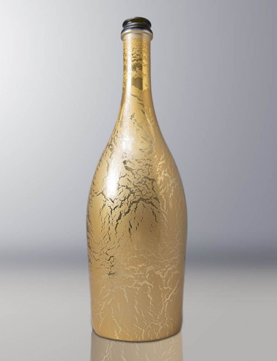 Metallization-Metallized-glass-bottle-with-antiqued-gold-effect