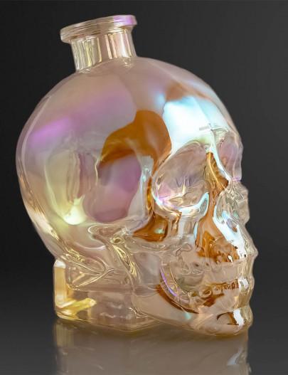 Iridescenza-bottiglia-skull-metallizzata-iridescente-effetto-aurora-boreale-Metallizing-skull-bottle-aurora-borealis-effetc